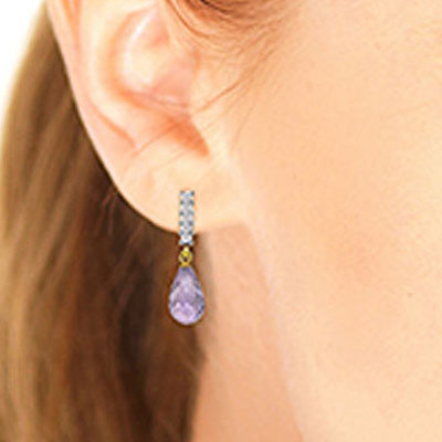 Amethyst and Diamond Stem Droplet Earrings 4.5ctw in 9ct Gold