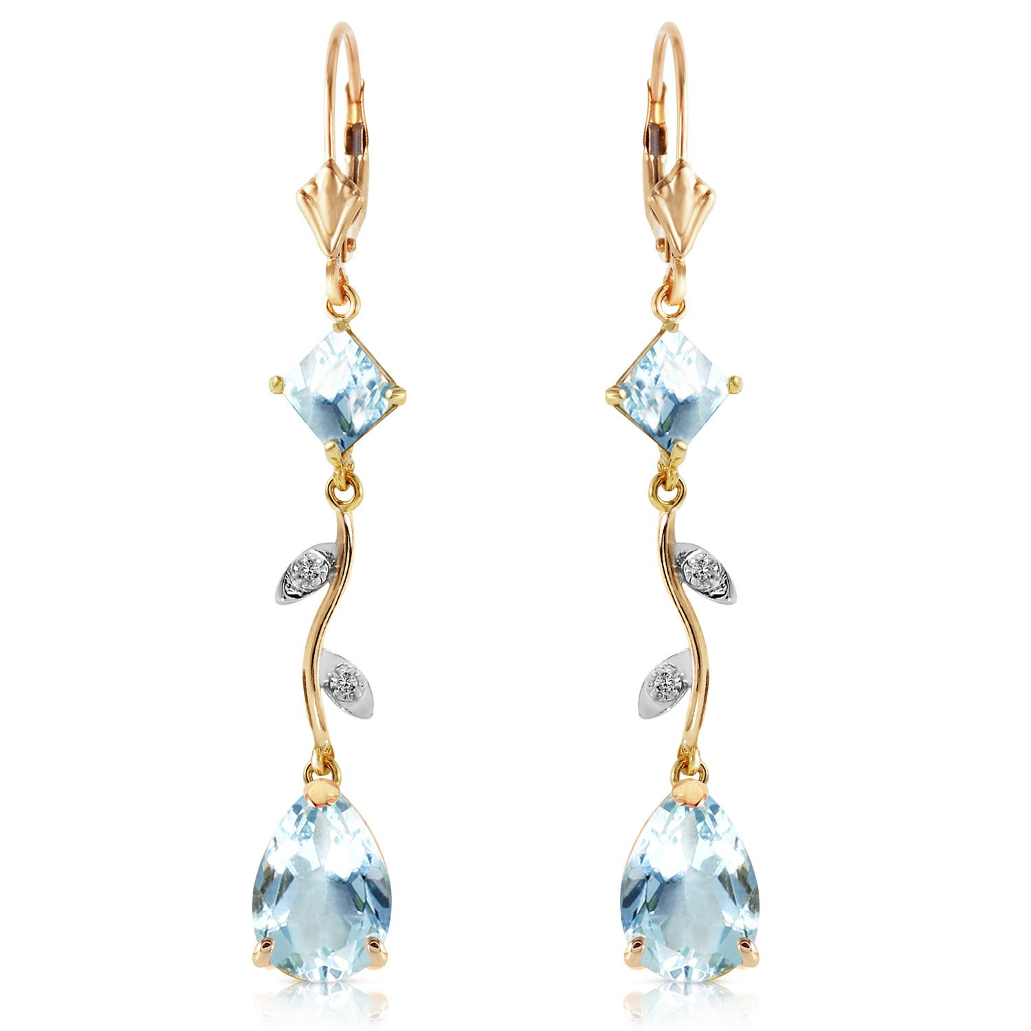 Aquamarine and Diamond Vine Branch Drop Earrings 3.95ctw in 9ct Gold