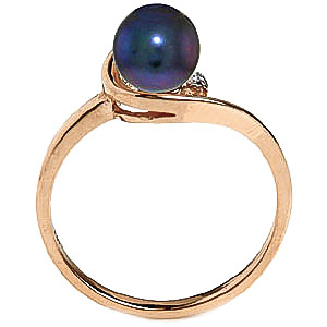 Black Pearl and Diamond Twist Ring 1.0ct in 9ct Gold