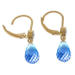 Blue Topaz and Diamond Illusion Drop Earrings 4.5ctw in 9ct Gold