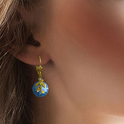 Blue Topaz and Diamond Olive Leaf Drop Earrings 10.6ctw in 9ct Gold