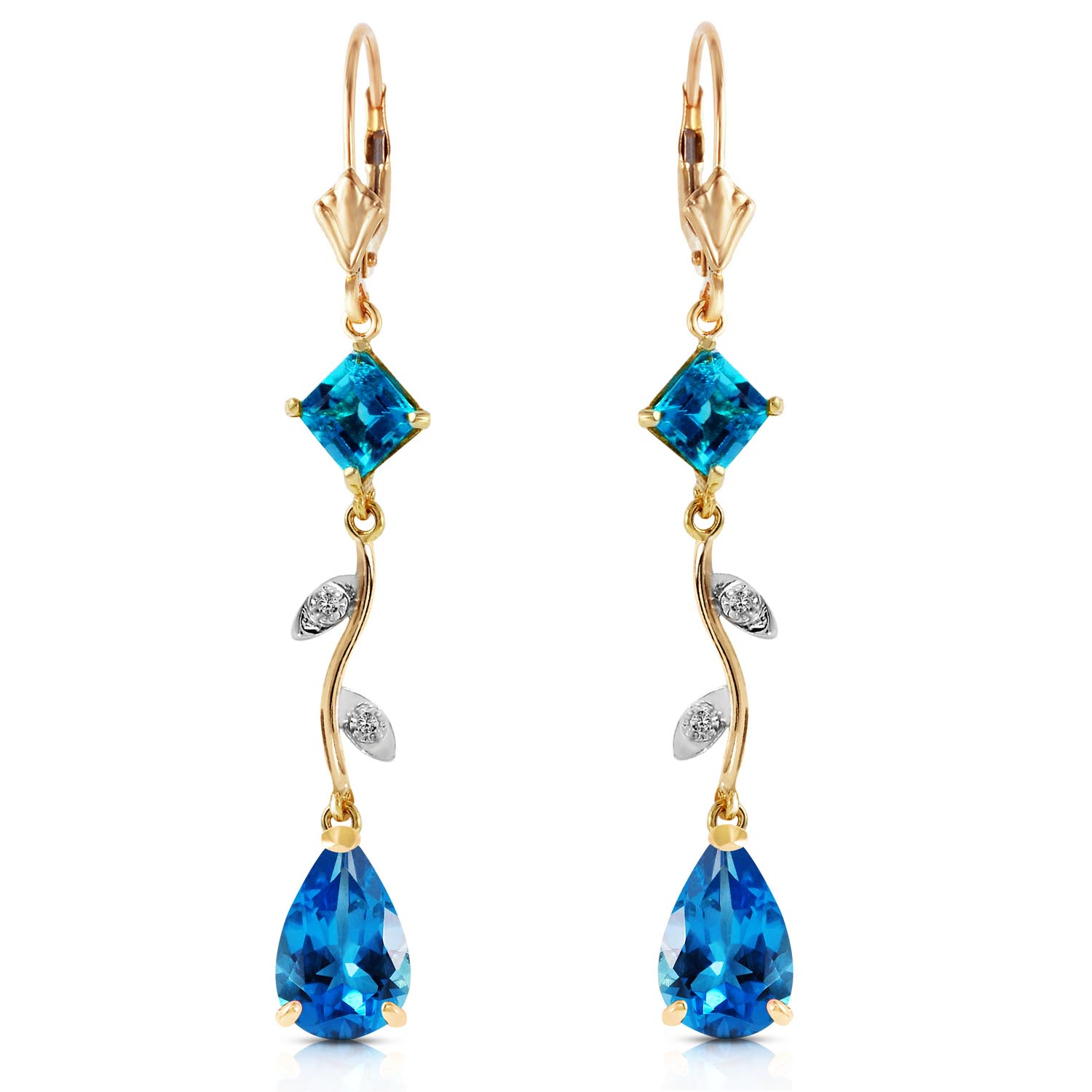 Blue Topaz and Diamond Vine Branch Drop Earrings 3.95ctw in 9ct Gold