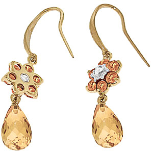Citrine and Diamond Daisy Chain Drop Earrings 5.45ctw in 9ct Gold