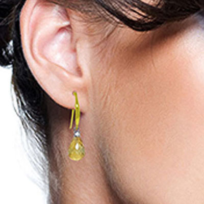 Citrine and Diamond Drop Earrings 4.5ctw in 9ct Gold