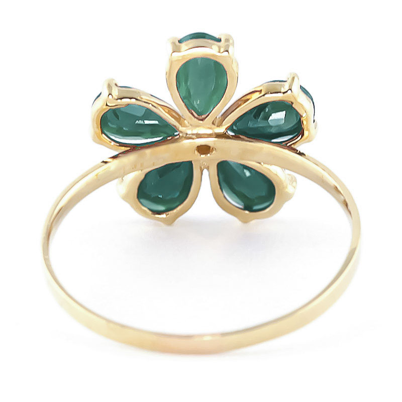 Emerald and Diamond Five Petal Ring 2.2ctw in 9ct Gold