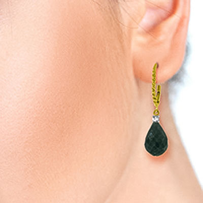 Emerald and Diamond Stem Drop Earrings 17.6ctw in 9ct Gold