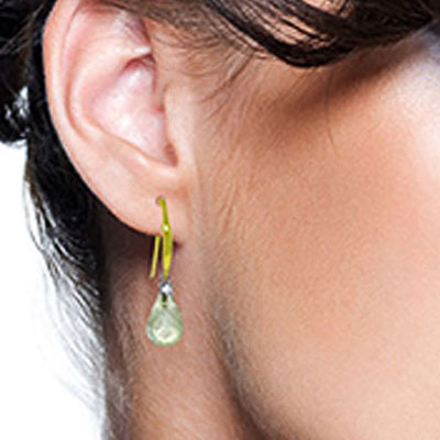 Green Amethyst and Diamond Drop Earrings 4.5ctw in 9ct Gold