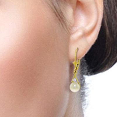 Pearl and Diamond Drop Earrings 4.0ctw in 9ct Gold