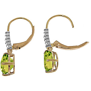 Peridot and Diamond Belle Drop Earrings 3.0ctw in 9ct Gold