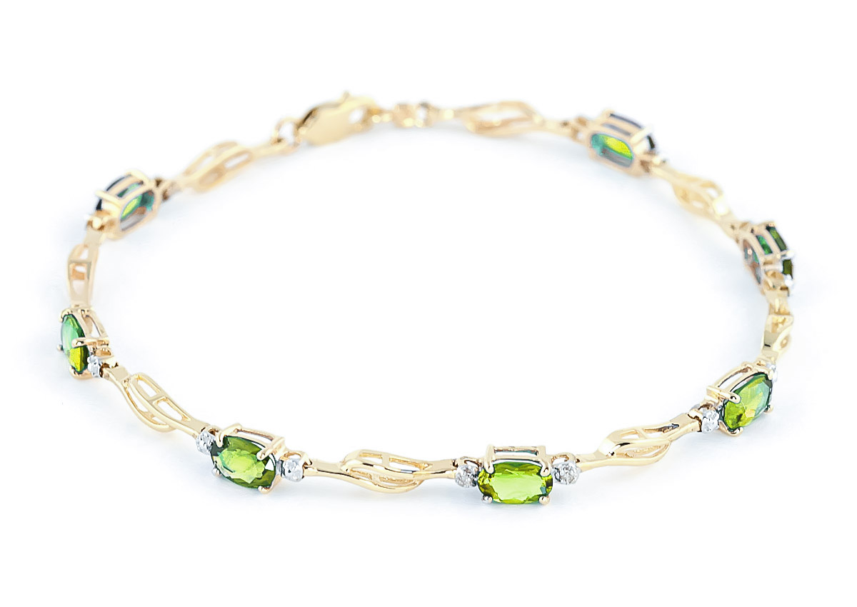 Peridot and Diamond Classic Tennis Bracelet 3.38ctw in 9ct Gold