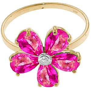 Pink Topaz and Diamond Five Petal Ring 2.2ctw in 9ct Gold