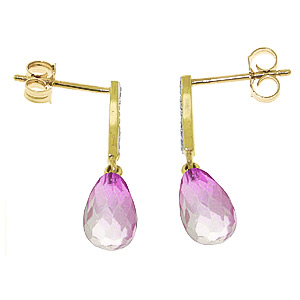 Pink Topaz and Diamond Droplet Earrings 4.5ctw in 9ct Gold
