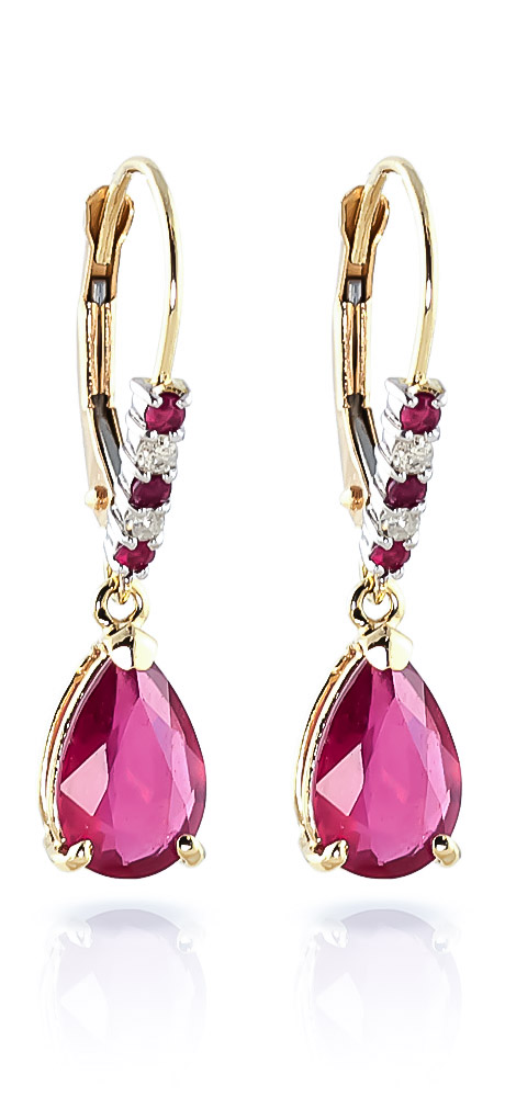Ruby and Diamond Belle Drop Earrings 3.12ctw in 9ct Gold