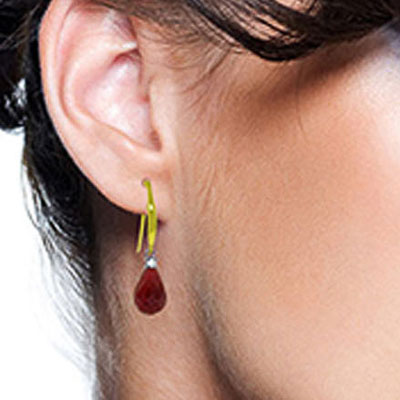 Ruby and Diamond Drop Earrings 6.6ctw in 9ct Gold