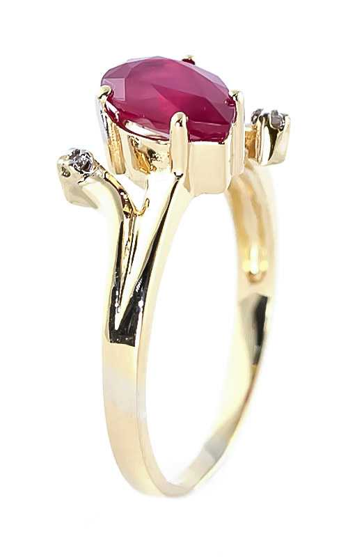 Ruby and Diamond Flank Ring 1.5ct in 9ct Gold