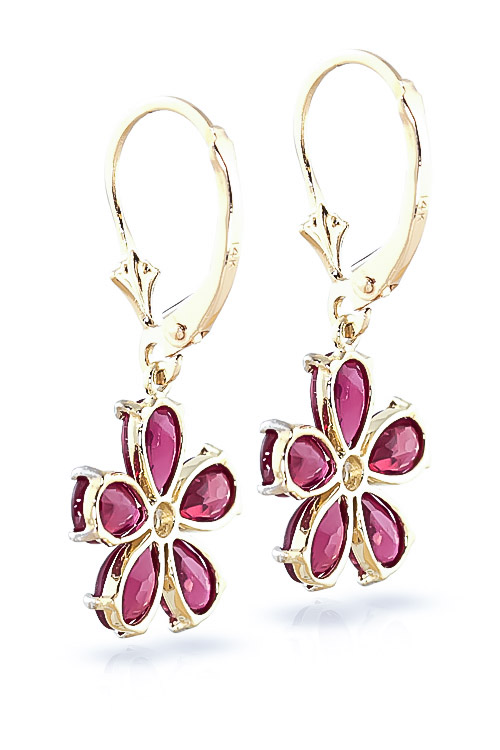 Ruby and Diamond Flower Petal Drop Earrings 4.4ctw in 9ct Gold