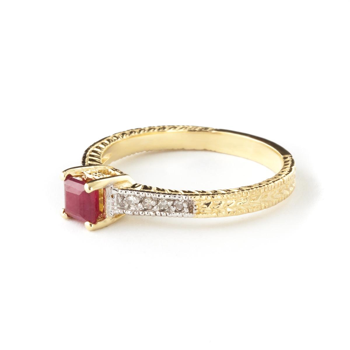 Ruby and Diamond Shoulder Set Ring 0.5ct in 9ct Gold