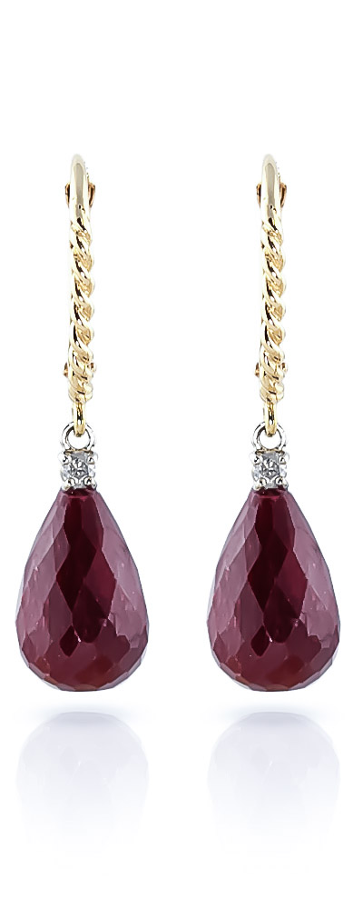 Ruby and Diamond Stem Drop Earrings 17.6ctw in 9ct Gold