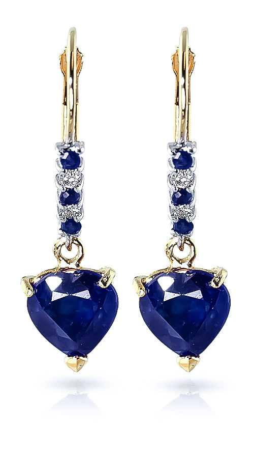 Sapphire and Diamond Drop Earrings 3.1ctw in 9ct Gold