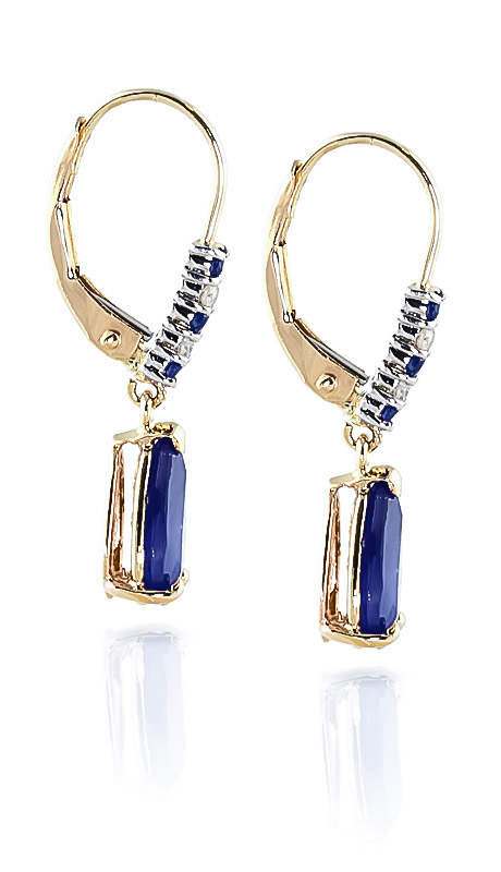 Sapphire and Diamond Belle Drop Earrings 3.12ctw in 9ct Gold