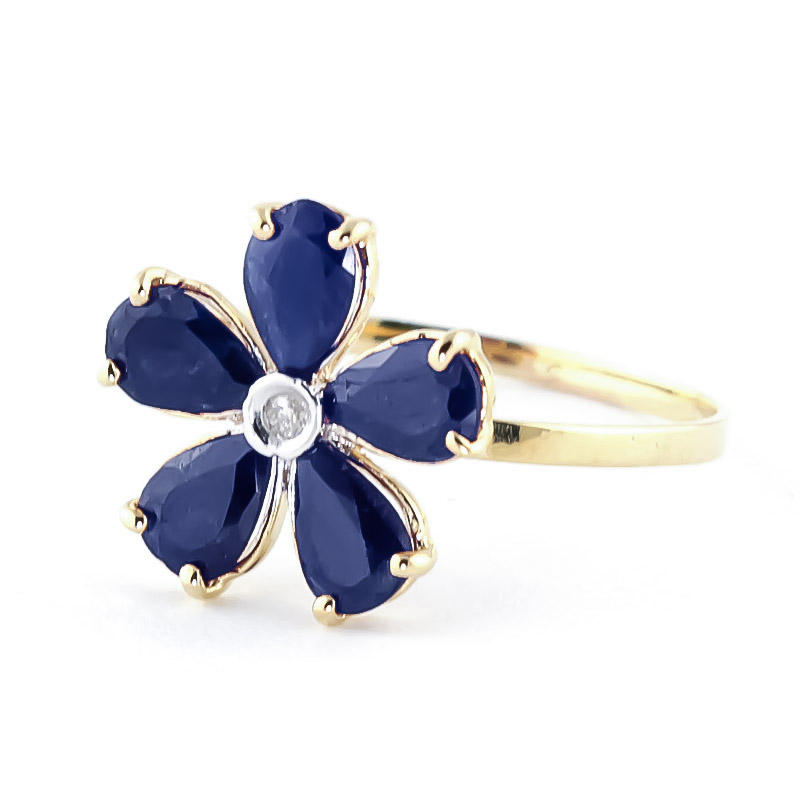 Sapphire and Diamond Five Petal Ring 2.2ctw in 9ct Gold