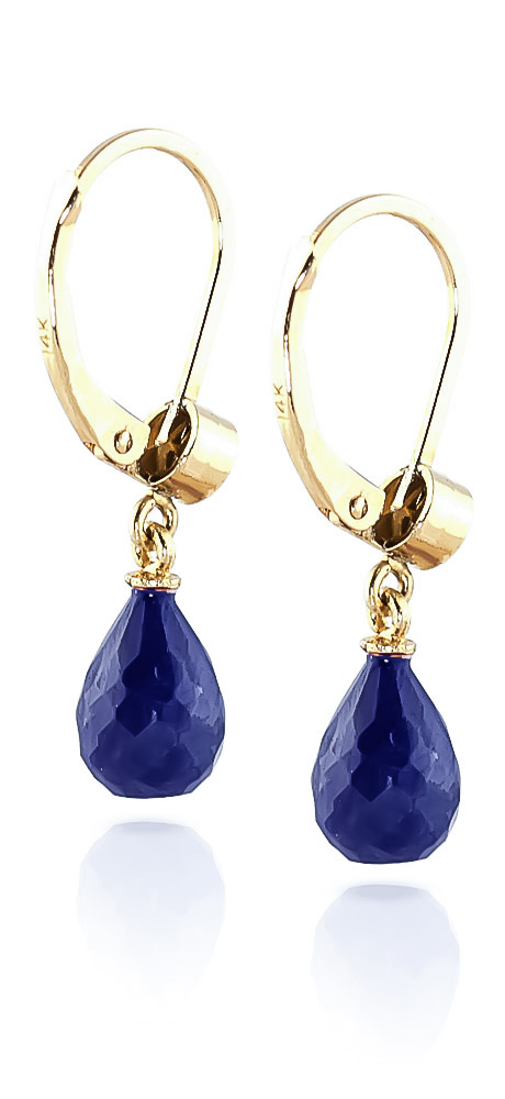 Sapphire and Diamond Illusion Drop Earrings 6.6ctw in 9ct Gold