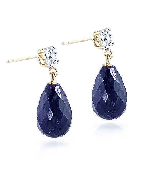 Sapphire and Diamond Illusion Stud Earrings 17.6ctw in 9ct Gold