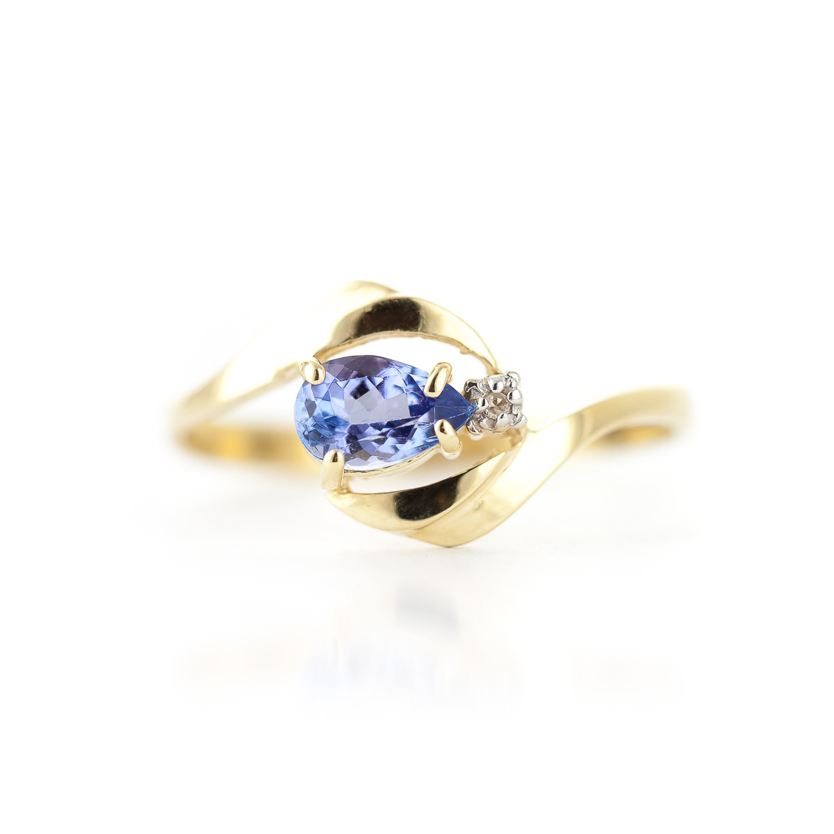 Tanzanite and Diamond Flare Ring 0.5ct in 9ct Gold
