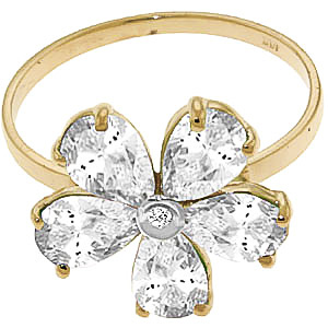 White Topaz and Diamond Five Petal Ring 2.2ctw in 9ct Gold