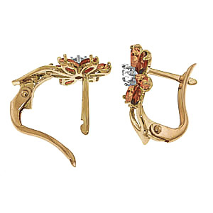 Garnet, Diamond and Citrine Flower Petal Stud Earrings 1.0ctw in 9ct Gold