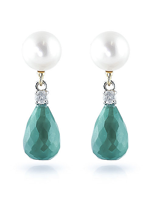 Emerald, Diamond and Pearl Drop Earrings 8.6ctw in 9ct Gold