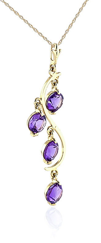 Amethyst Dream Catcher Pendant Necklace 2.25ctw in 9ct Gold