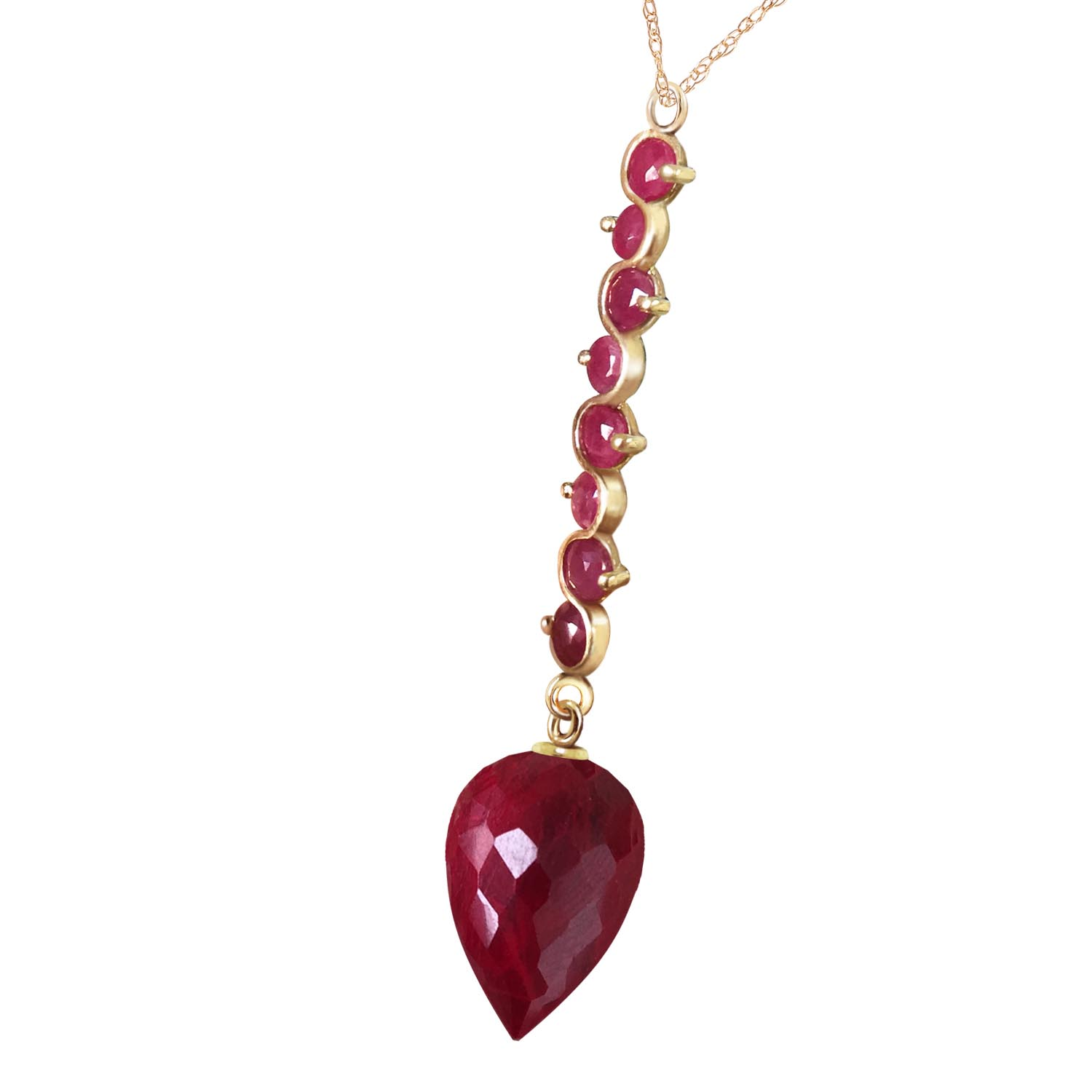 Ruby Briolette Pendant Necklace 14.55ctw in 9ct Gold