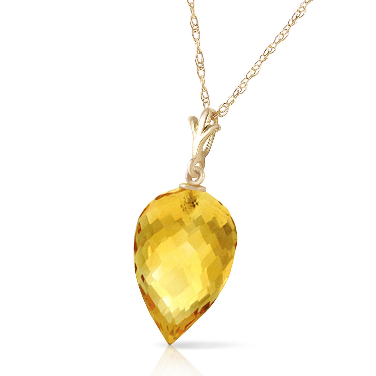 Citrine Briolette Pendant Necklace 9.5ct in 9ct Gold