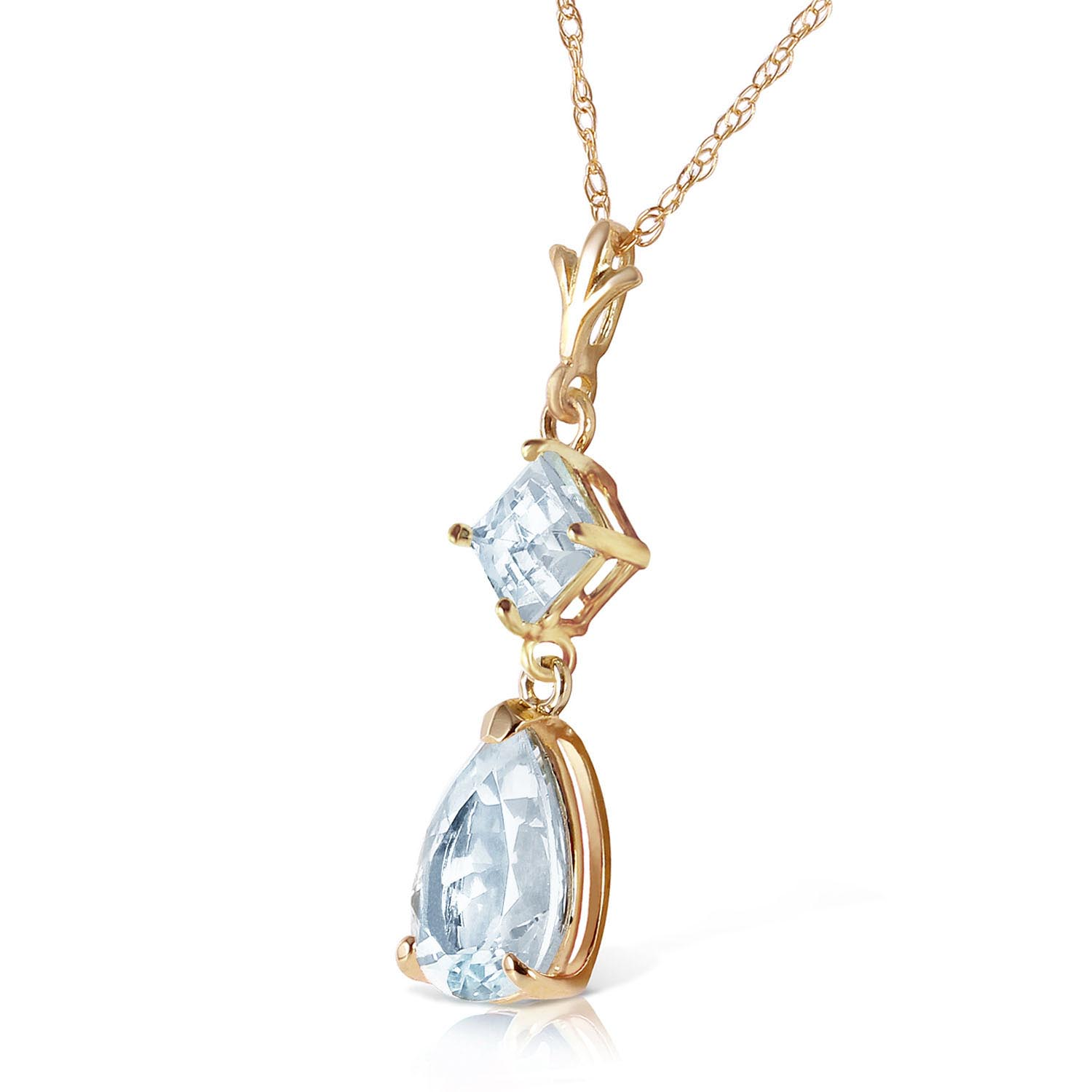 Aquamarine Droplet Pendant Necklace 2.0ctw in 9ct Gold