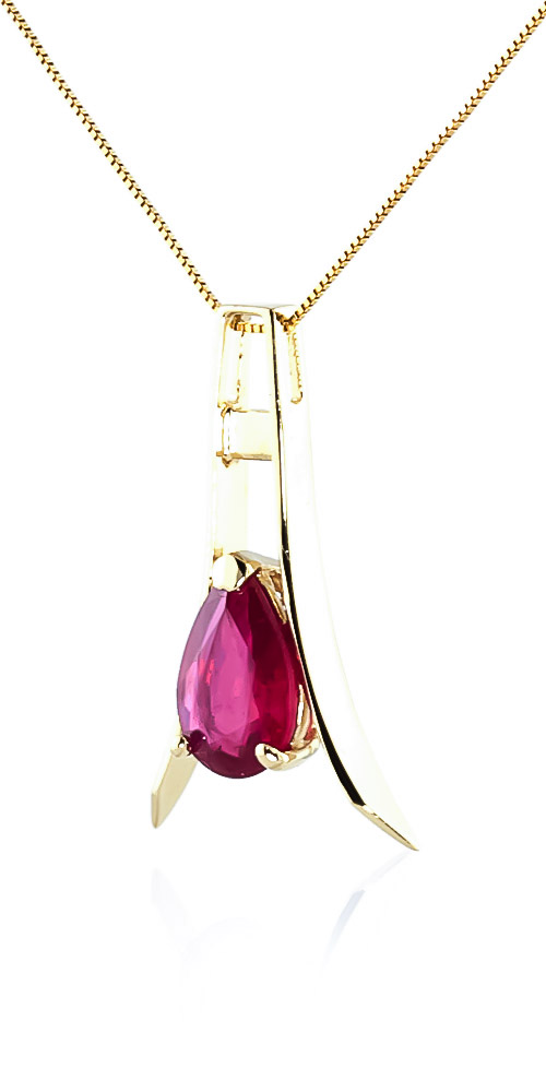 Ruby Eiffel Pendant Necklace 1.5ct in 9ct Gold