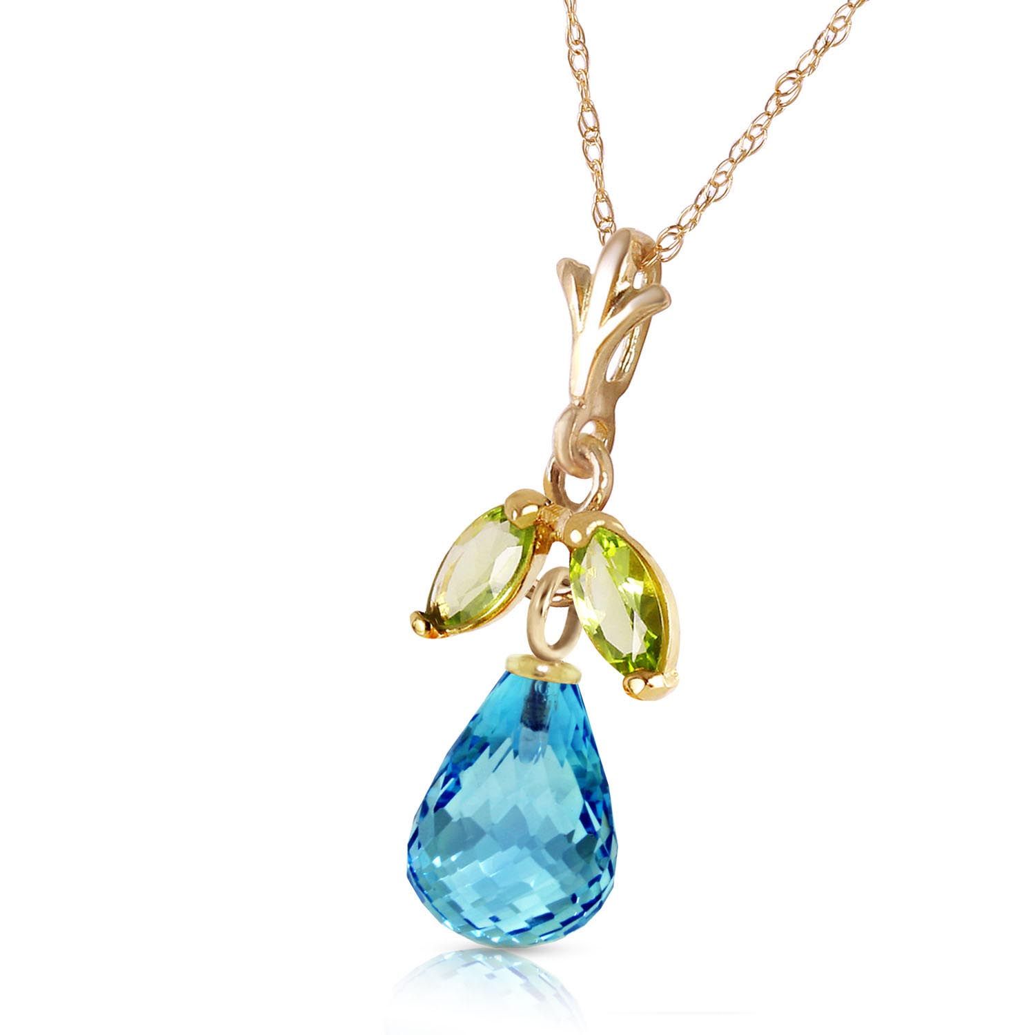Blue Topaz and Peridot Snowdrop Pendant Necklace 1.7ctw in 9ct Gold