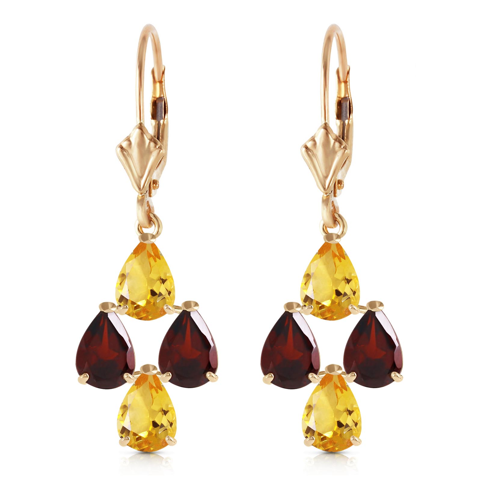 Citrine and Garnet Drop Earrings 3.9ctw in 9ct Gold