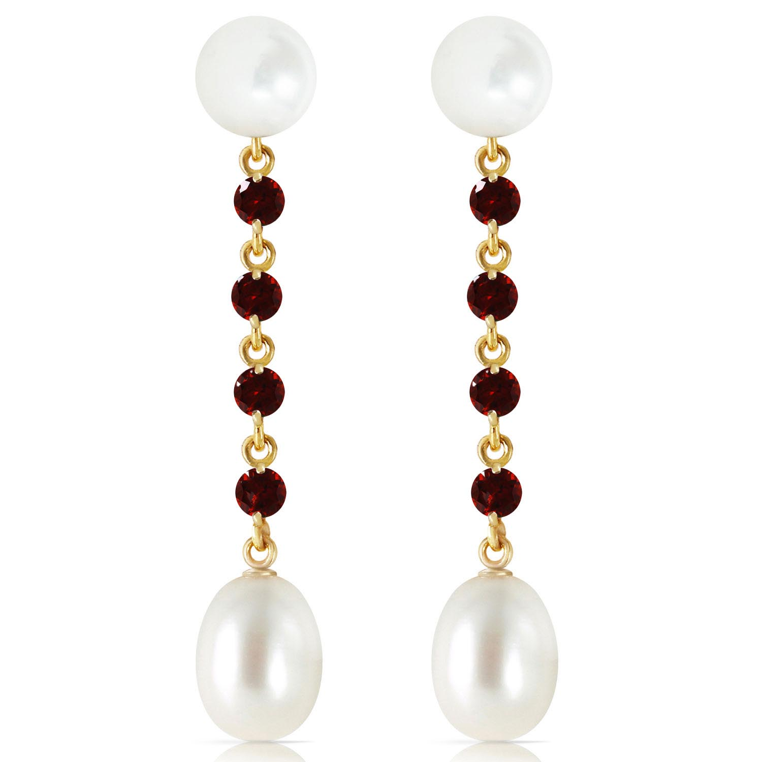 Pearl and Garnet by the Yard Drop Earrings 11.0ctw in 9ct Gold