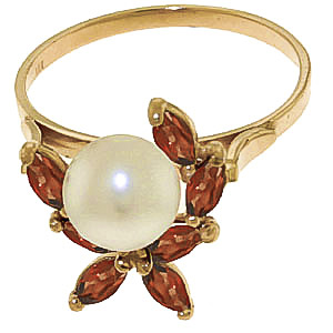 Pearl and Garnet Ivy Ring 2.65ctw in 9ct Gold