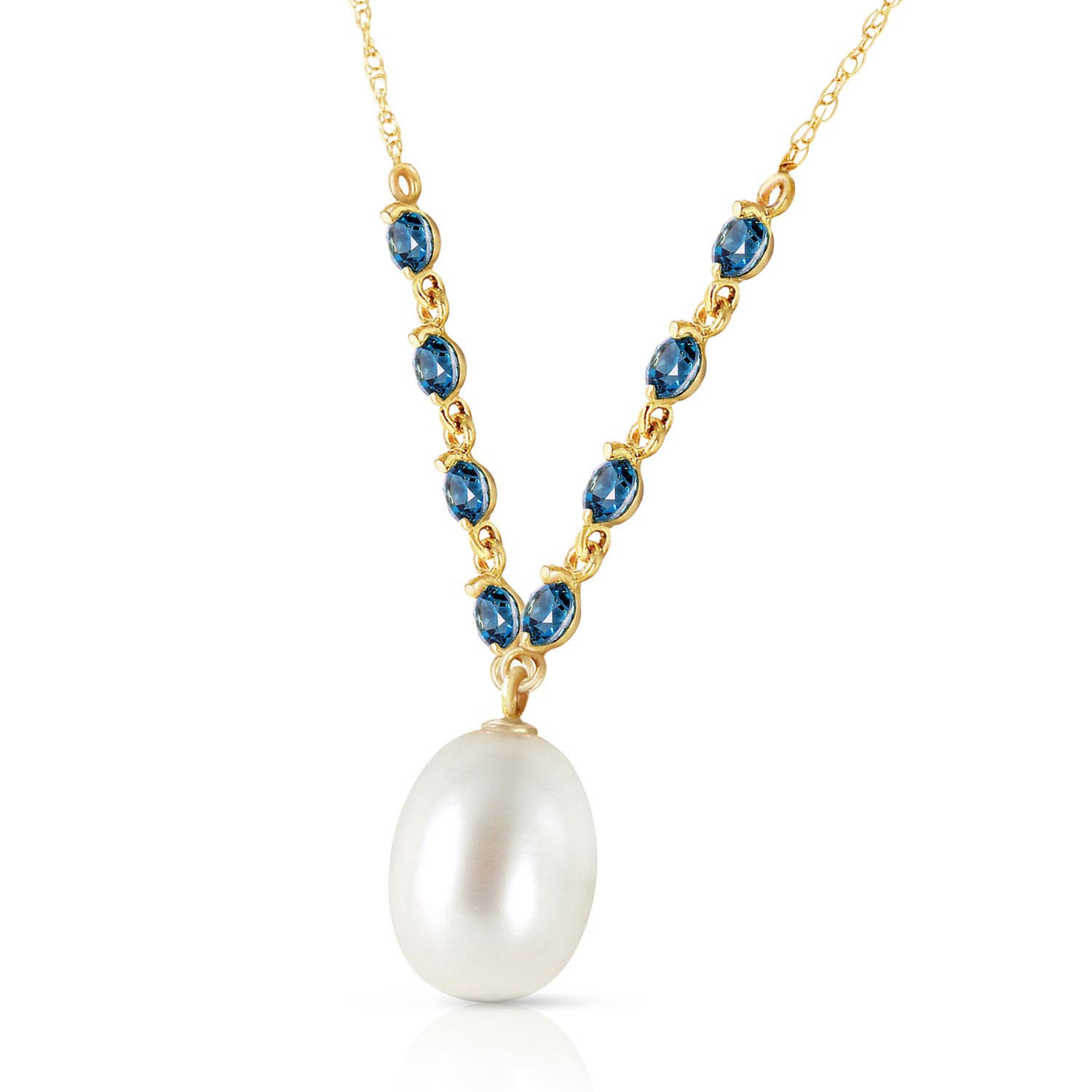 Pearl and Blue Topaz by the Yard Pendant Necklace 5.0ctw in 9ct Gold