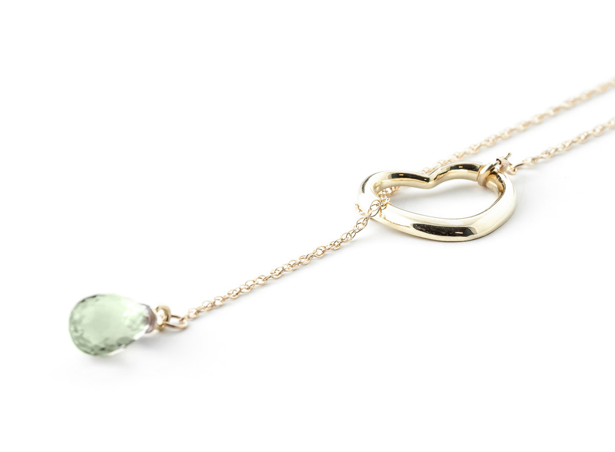Green Amethyst Briolette Pendant Necklace 2.25ct in 9ct Gold