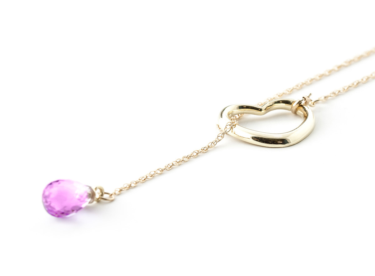 Pink Topaz Briolette Pendant Necklace 2.25ct in 9ct Gold