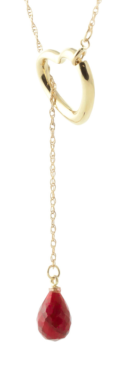 Ruby Briolette Pendant Necklace 3.3ct in 9ct Gold