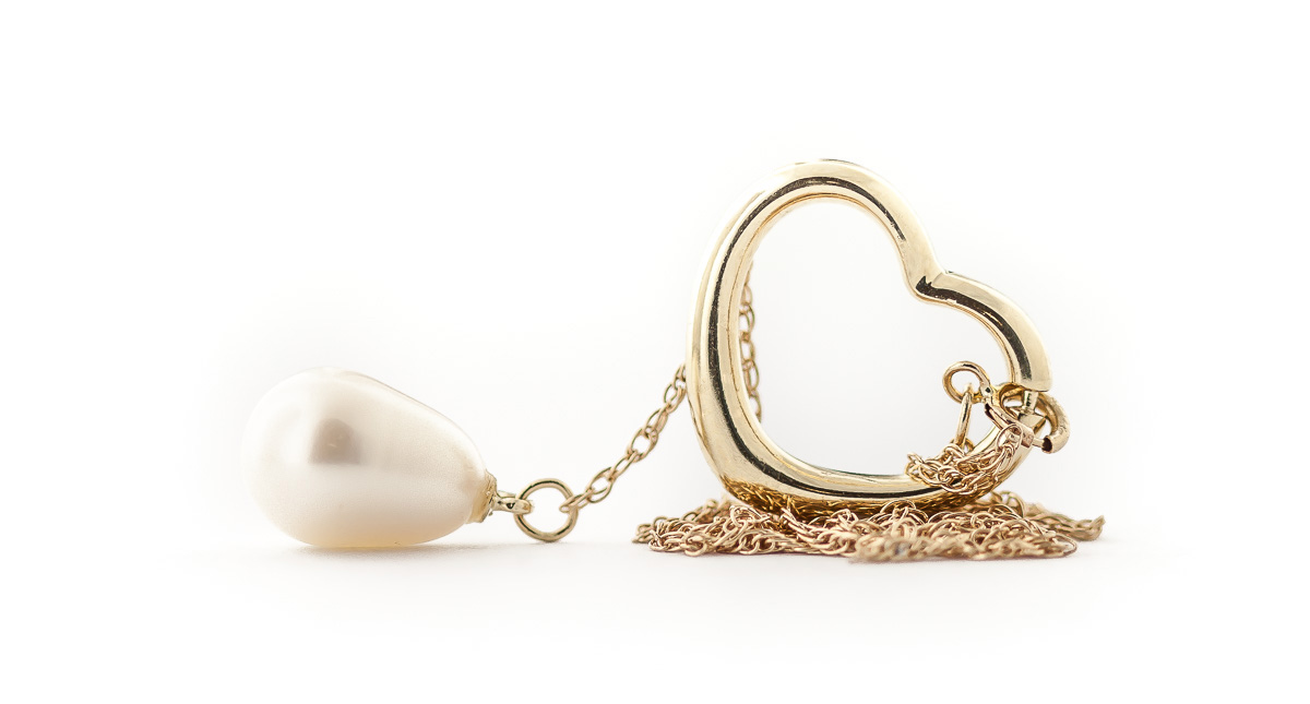 Pear Cut Pearl Pendant Necklace 4.0ct in 9ct Gold