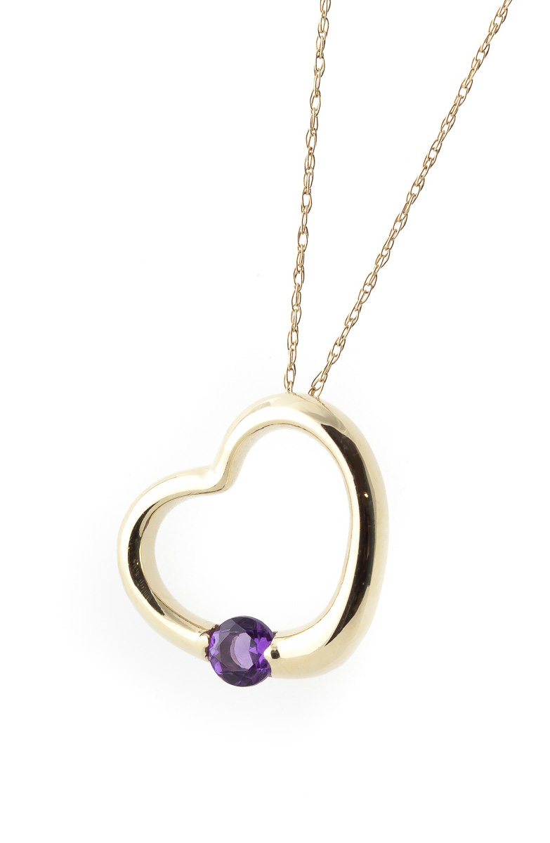 Round Brilliant Cut Amethyst Pendant Necklace 0.25ct in 9ct Gold