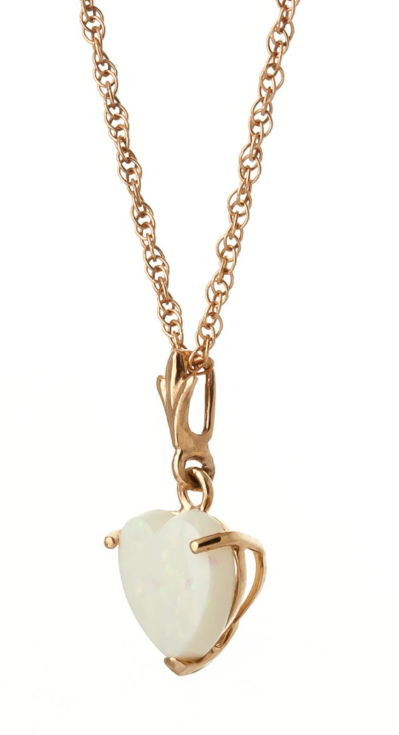 Opal Heart Pendant Necklace 0.65ct in 9ct Gold