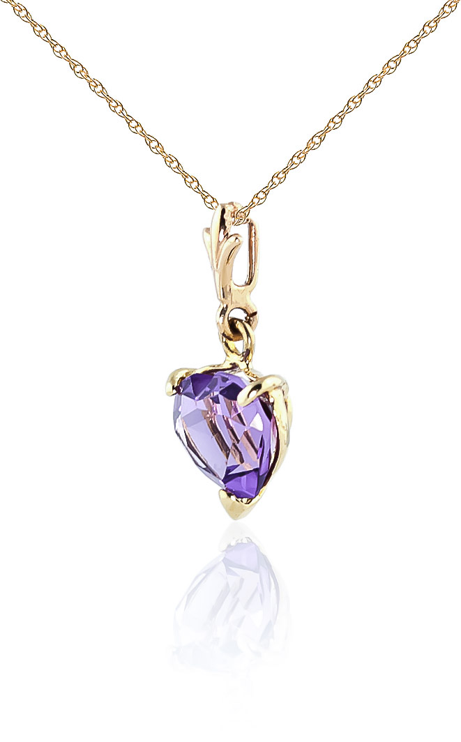 Amethyst Heart Pendant Necklace 1.15ct in 9ct Gold