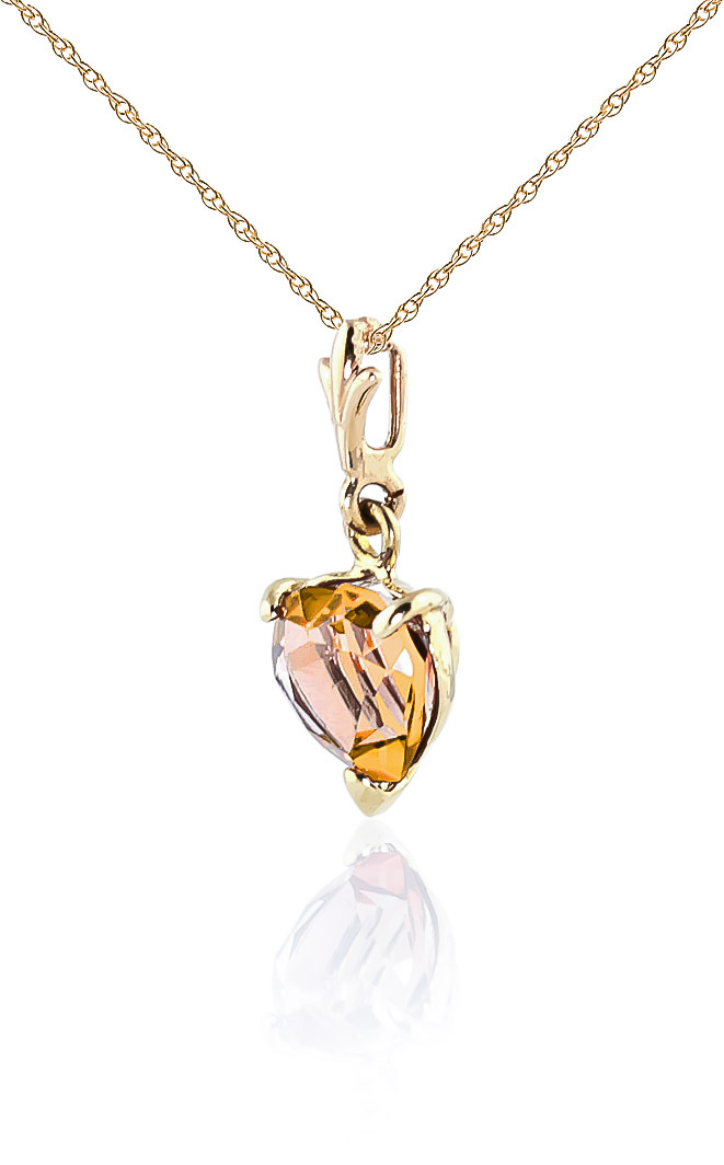 Citrine Heart Pendant Necklace 1.15ct in 9ct Gold