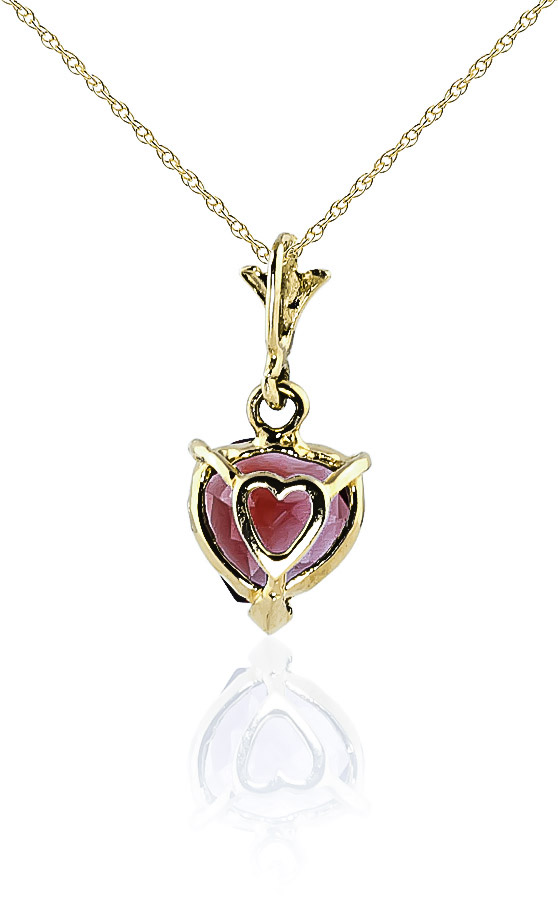 Garnet Heart Pendant Necklace 1.5ct in 9ct Gold